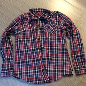Exofficio Red Plaid Shirt With Stash Pocket, Large